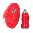 MTX-05 Car Charger Stecker + 8-Pin Lightning Data / Charging Flachbandkabel für iPhone 5 / iPad Mini - Red