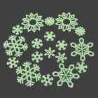 653 Cute 18-in-1 Glow-in-the-Dark Plastic Snowflake Style Sticker for Room Decoration - Green