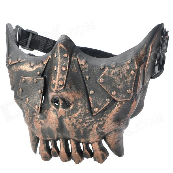 QiuZhang SW2108 Outdoor War Game Military Protective Skeleton Half Face Shield Mask - Black + Bronze airsoft adults cs field game skeleton warrior skull paintball mask