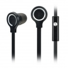 BYZ-S400 Stylish Flat In-Ear Earphones w/ Microphone - Black + Silver (3.5mm Plug / 120cm)