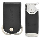 iwoo iwoo-T702 Elegant Dual-Ring Keychain + Butane Gas Lighter Set - Silver + Black