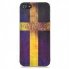 Protective Swedish Flag Pattern Back Case w/ Screen Protector for Iphone 5 - Deep Purple + Yellow