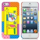 Protective Giraffe Pattern Back Case w/ Screen Protector for iPhone 5 - Multicolored