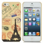 Protective Stamp Pattern Back Case w/ Screen Protector for iPhone 5 - Beige
