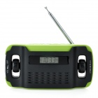 "5020 Digitale 1,3 ""LCD FM / MW / SW Handkurbel Radio w / 3-LED White Light - Green + Black"