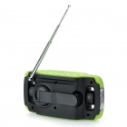 "5020 Digital 1.3"" LCD FM / MW / SW Hand Cranked Radio w/ 3-LED White Light - Green + Black"