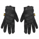 Free Solider Outdoor Cycling Fiber + Nylon Full Finger Gloves - Black (Pair)