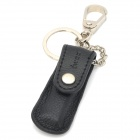 iwoo iwoo-003 Zinc Alloy + Leather Keychain w/ Nail Clipper - Black + Silver