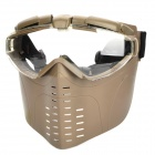 War Game Paintball Full Face Padded & Fan Goggles Protective Mask - Tan