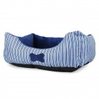 Soft Plush Pet Dog / Cat Bed House - Blue + White