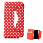 White Dot Pattern Protective PU Leather Case for Samsung Galaxy Note 2 N7100 - Red