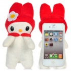 360-Degree Rotating Soft Rabbit Doll Protective Back Case for iPhone 4 / 4S - White + Brown