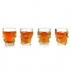 YSDX-592 Skeleton Style Glass Cups - Transparent (4 PCS / 2.5 Ounce)