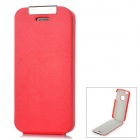 Simple Protective Top-Flip PU Leather Case for Iphone 5 - Red