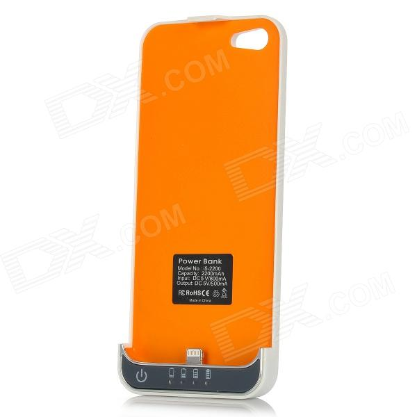 i5-2200 2200mAh External Mobile Battery Back Case Power Charger for iPhone 5 - White + Orange