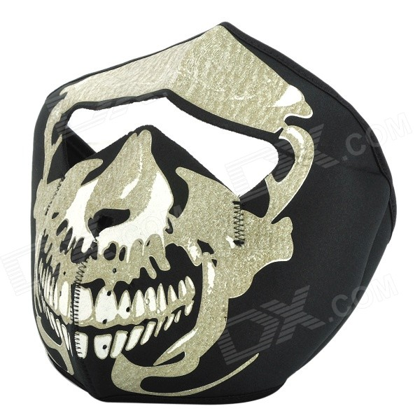 Skeleton Pattern War Game Neoprene Fabrics Half Mask w/ Magic Tape for CS - Black rollercoasters the war of the worlds