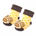 0716 Cute Dog Doll Cotton Non-Slip Baby Socks - Brown + Yellow (Pair)