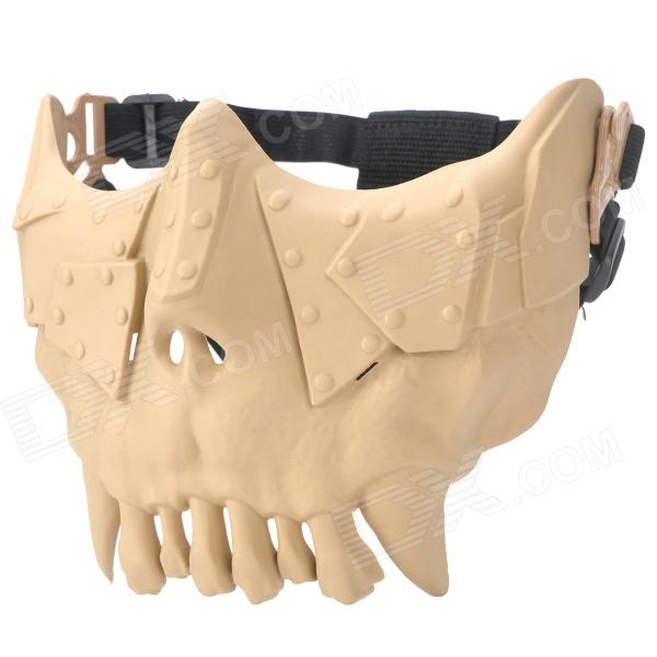 QiuZhang SW2107 Outdoor War Game Military Protective Skeleton Half Face Shield Mask - Tan airsoft adults cs field game skeleton warrior skull paintball mask