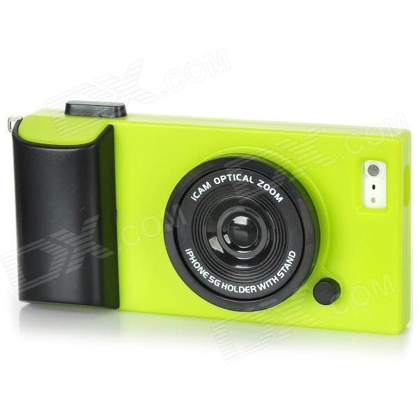 ... Camera Style Protective Plastic Back Case for Iphone 5 - Green + Black