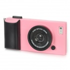 Creative 3D Camera Style Protective Plastic Back Case for Iphone 5 - Pink + Black