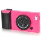Creative 3D Camera Style Protective Plastic Back Case for iPhone 5 - Deep Pink + Black