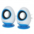 Aoni D205 Cute Goose Egg Shaped USB Powered 2-Channel Mini Speaker - Blue + White