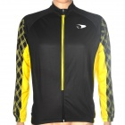 ACTSEE Grid Pattern Bicycle Cycling Long Sleeves Jersey - Black + Yellow (Size L)