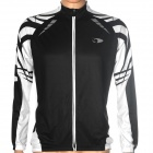 ACTSEE Reticular Pattern Bicycle Cycling Long Sleeves Jersey - Black + White (Size L)