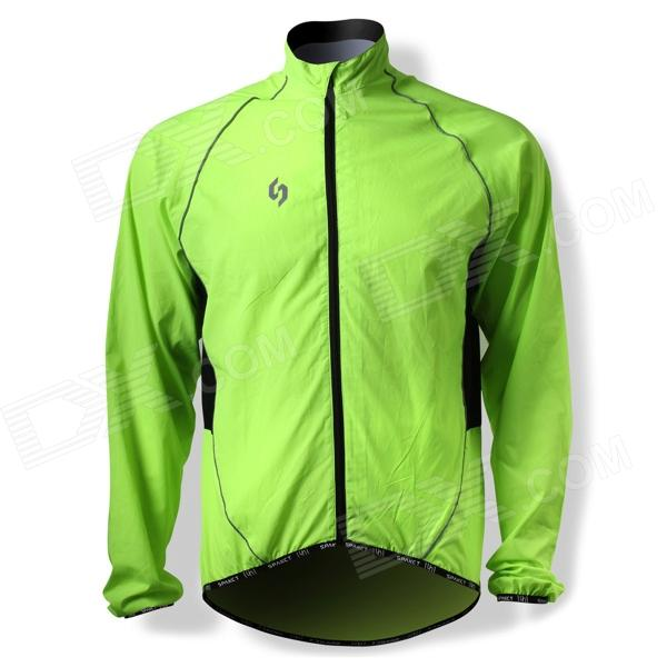 SPAKCT CSY205B Bicycle Cycling Reflective Strip Long Sleeves Jersey - Luminous Green (Size M) veobike men long sleeves hooded waterproof windbreak sunscreen outdoor sport raincoat bike jersey bicycle cycling jacket