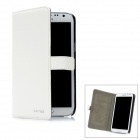 Cross-Grain Protective Flip-Open PU-Leder Etui für Samsung Galaxy Note N7100 2 - White