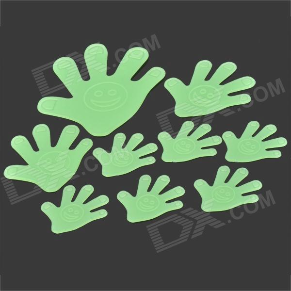 653 Cute 9-in-1 Glow-in-the-Dark Plastic Hand Style Sticker for Room Decoration - Green