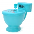 HB-2012 Creative Closetool Style PS Cup w/ Cover / Spoon - Blue