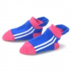 1009 Baby's Anti-Slip Cotton + Polyester Socks - Blue + White + Pale Violet Red (Pair)