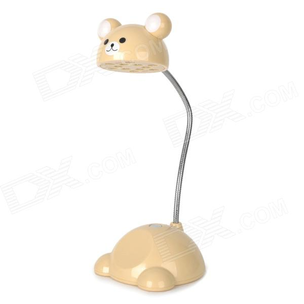 Cute Bear Shape Flexible Neck 0.75W 12-LED White Light Desk Table Lamp - Beige (USB Power / 3 x AA)