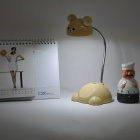 Forma bonito urso pescoço flexível 0.75W 12-LED White Light Table Lamp Desk - Bege (USB Power / 3 x AA)