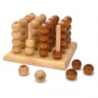 Rubber Wooden 3D Four in a Line Educational Toy - Brown + Wooden