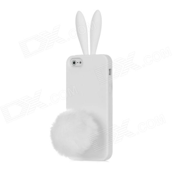 Rabbit Style Protective Silicone Case for Iphone 5 - White protective matte silicone case for iphone 5 5s dark blue white