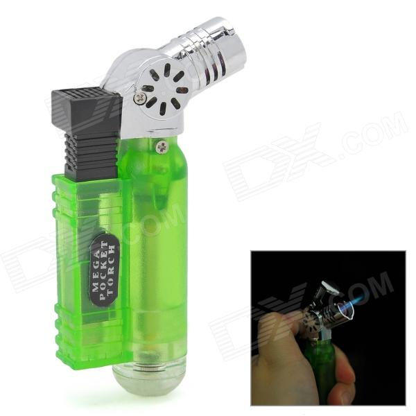 593B Windproof Plastic Butane Jet Torch Lighter - Green + Silver chili pepper style zinc alloy butane gas lighter green