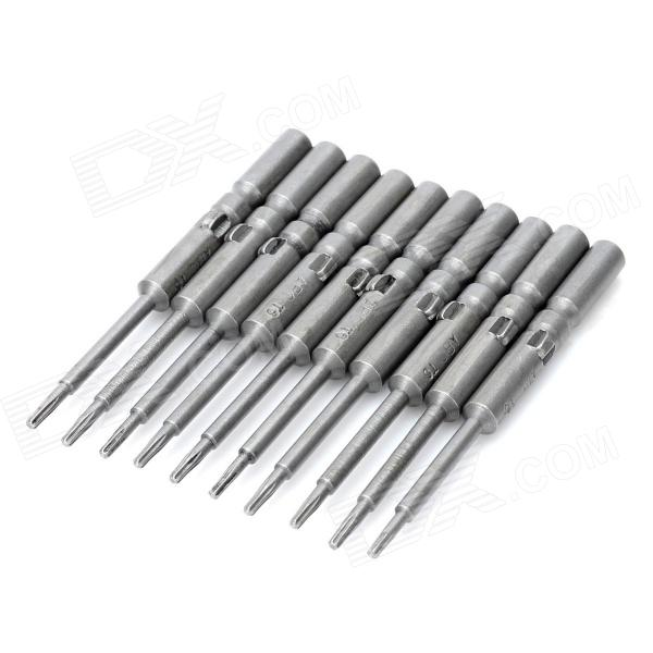 ABC Electric Screwdriver Torx Bits Set - Grey (5mm-Shank / T6) gold plated banana plug jack connector set golden 3 5mm 10 pairs