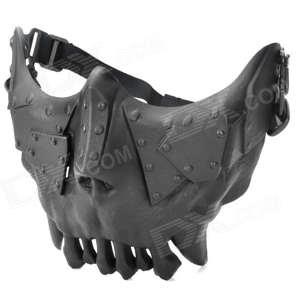 QiuZhang SW2108 Outdoor War Game Military Protective Skeleton Half Face Shield Mask - Black airsoft adults cs field game skeleton warrior skull paintball mask
