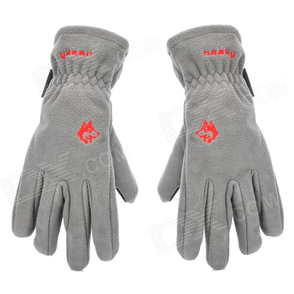 HASKY XQQ-ST-34 Outdoor Sports Full Finger Polyester Windproof Warmer Gloves - Grey (Pair)