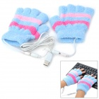 USB Powered Cotton Warm Keeping Gloves - Light Blue (Pair)