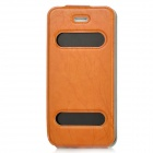Protective Top-Flip PU Leather Case for Iphone 5 - Terra-cotta + Black