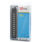 Dual Switch 12-Port USB 2.0 Hub w/ AC Power Charger - Black (110~240V / 2-Flat-Pin Plug)