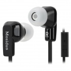 Mosidun MSD-500 Flat Cable In-Ear Earphones w/ Microphone - Black + White (3.5mm Plug / 113cm)