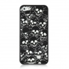 Skull Pattern Protective Electroplating Plastic Case for Iphone 5 - Black