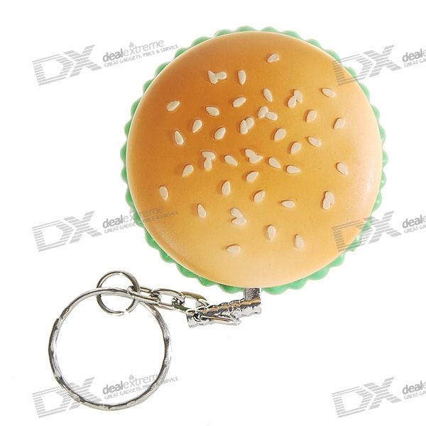 Hamburger Shaped Butane Lighter Keychain (Assorted Color)