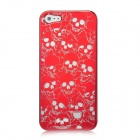 Skull Pattern Protective Electroplating Plastic Case for Iphone 5 - Red
