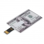 MJ100 Stylish US 100 Dollar Pattern Card Style USB 2.0 Flash Drive - White + Grey (4GB)
