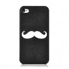 Moustache Pattern Protective Plastic Case for Iphone 4 / 4S - Black